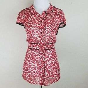 Anthropologie Red Poppy Floral Ruffle Silk Blouse